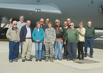 Group standing in front of an Air Guard KC-135R Stratotanker.